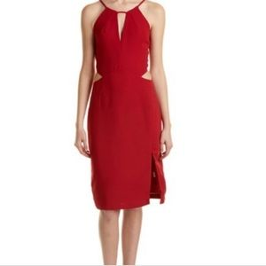 Deep Red Cut-out Midi Dress